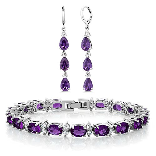 Gem Stone King 7inches Purple & White CZ Bracelet Set With Matching 2inches Pear shape Dangle Earrings