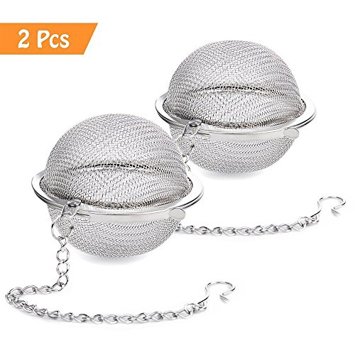 (Siasky 2Pcs Stainless Steel Tea Ball, 2.1 Inch Mesh Tea Infuser Strainers, Premium Tea Filter Tea Interval Diffuser for Loose Leaf Tea and Seasoning Spices)