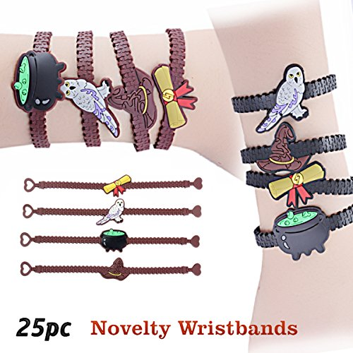 Wizard Theme Party Favor Bracelets Wristbands for Goody Bags, 25pcs (All Halloween Town Spells)
