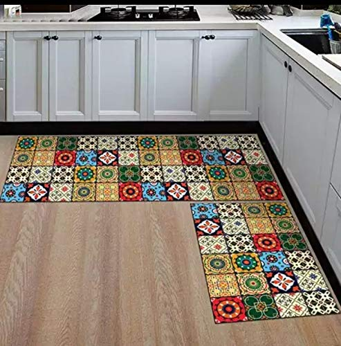 RSH Furnishing Offers This Latest Kitchen Floor MATS Combo Set of 2(Anti Skid) Large MAT(18x55in) Small MAT(17x26in) M09