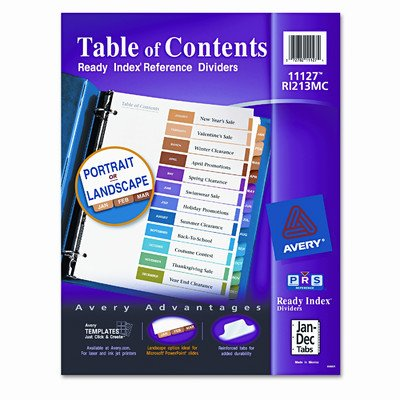AVERY-DENNISON, Ready Index Contemporary Table of Contents Divider, Jan-Dec, Multi, Letter, Set