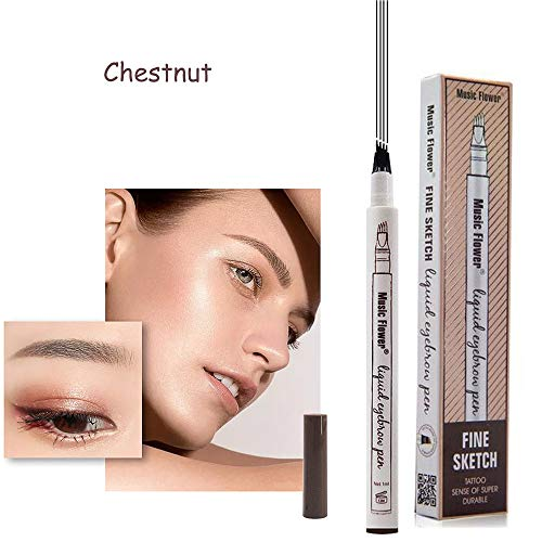 (Eyebrow Tattoo Pen-LilyAngel Waterproof Microblading Eyebrow Pencil with a Micro-Fork Tip Applicator Creates Natural Looking Brows Effortlessly(Chestnut,1pc/pack))