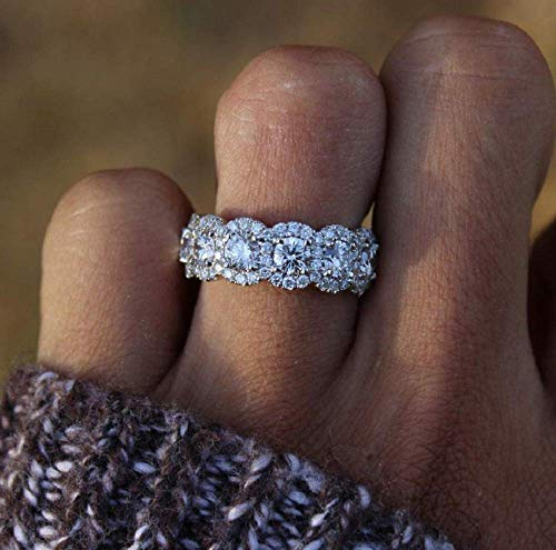 Wenbin Fashion Ring Women 925 Silver Princess Cut White Topaz CZ Engagement Ring Engagement Wedding Band Ring for Women Size 6-11 (Size 11)