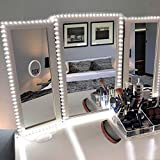 corner bathroom vanity with makeup table Litake LED Vanity Mirror Lights Kit, 13ft/4M 240 LEDs Makeup Mirror Lights for Makeup Vanity Table Set, 6000K Daylight White with Dimmer and Power Supply, Mirror not Included.