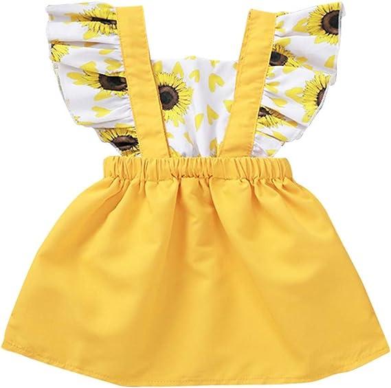 wuayi  M/ädchenkleider /ärmelloses Kleid mit Sonnenblumendruck f/ür Babys Sommerkleid-Outfits Kleidung 0-24 Monate