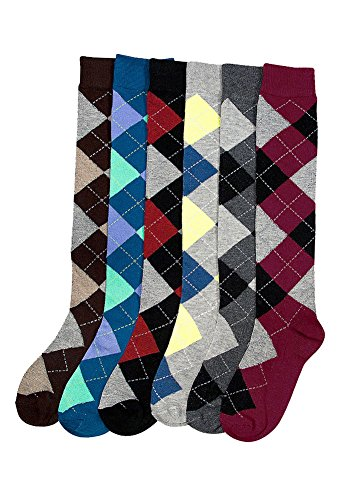 Ladies Colorful Knee High Fashion Socks Assorted (6 Pack) (One Size (9-11), Argyle) Argyle Knee High Socks
