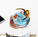 Wallmonkeys Cockfight Fighting Cocks Wall Mural Peel and Stick Graphic (12 in H x 12 in W) WM246292
