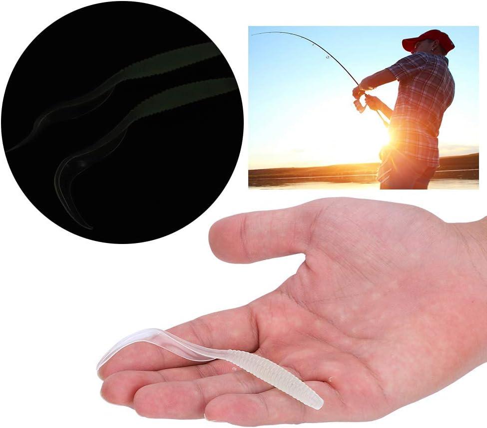 6 unids se/ñuelos de Pesca Suave de pl/ástico se/ñuelos de Cebo de Peces Artificiales grub Gusanos cebos Aparejos de Pescado Accesorio