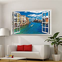 Fangeplus(TM) DIY Removable Window View Grand Canal Venice Italy Art Mural Vinyl Waterproof Wall Stickers Living Room Decor Bedroom Decal Sticker Wallpaper 35.4''x23.6''
