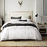 100% Natural Australian Wool Hypoallergenic Cotton Box Stiched Duvet Insert/Comforter, White, Queen