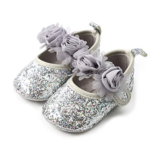 QGAKAGO Infant Baby Girls Princess Patent-Leather Bowknot Soft Sole Mary Jane Shoes (S: 4.25 inch(0~6 Months), Shining Silver)