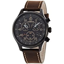 Timex Mens T49905GP Expedition Field Chronograph Genuine Leather Strap Black Dial Watch