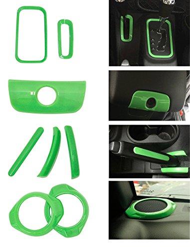 Horn Knob - Bolaxin 8pcs/set Interior Handbrake Handle Cover & Armrest Switch Keyhole Trim & Gear Shift Knob Box Trim & Horn Speaker Cover Trim for Jeep Wrangler 2015 2016 (green)