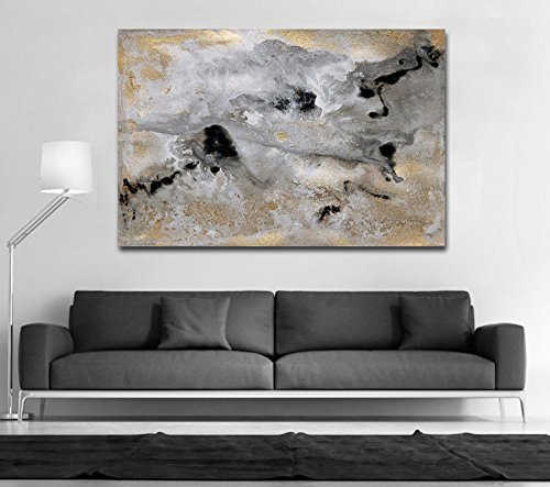 Hand made texture Goldleaf, Gold and Black Art, Large Wall Art, Gray White, Art for Large Spaces, Gray Abstract Painting Canvas by Fchen Art