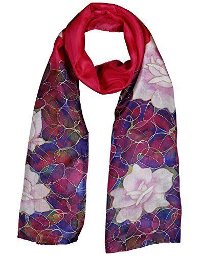 Invisible World Women's 100% Mulberry Silk Scarf Long Hand Painted Floral- ()