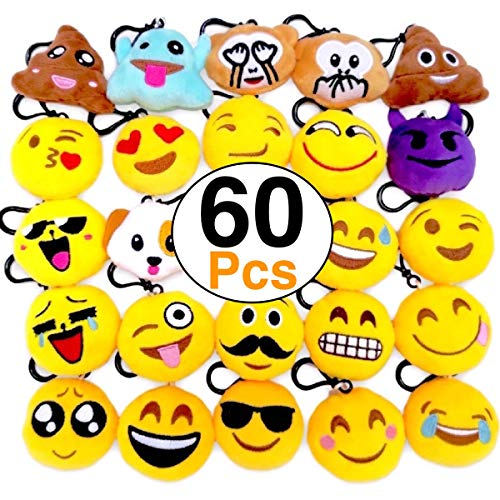 OHill 60 Pack Emoji Plush Pillows Mini Keychain Decorations for Birthday Party, Home Decoration, Wall Decor and Party Favor -