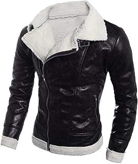 Bravepe Men Slim Casual Slanted Zipper Lapel Pu Leather Moto Biker Jacket Coat