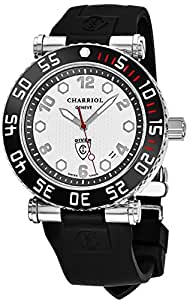 Charriol Rotonde Diver Mens Watch - 42mm Silver Face with Luminous Markers Analog Quartz Diving Watch - Black Rubber Strap Swiss Dive Watch For Men 100M Waterproof RT42DIVB.142.D02
