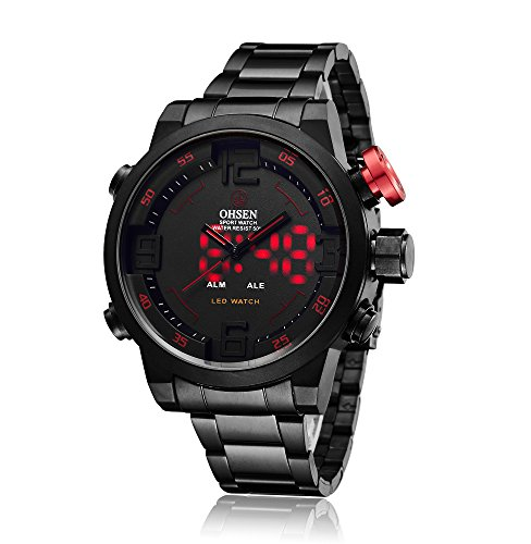 Sport Watch Digital Wrist Large Face Waterproof LED Military SIBOSUN Japanese Quartz Alarm Date Day (01.Black red, ()