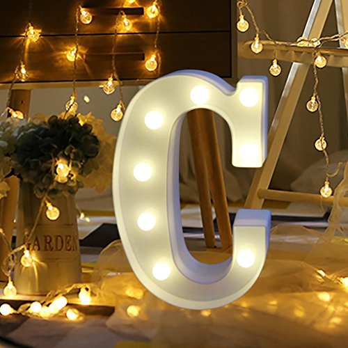 XEDUO 26 A-&-Z Alphabet Letter LED Light Up White Plastic Letters Standing Hanging for Xmas Wedding Birthday Party Home Decor (C)
