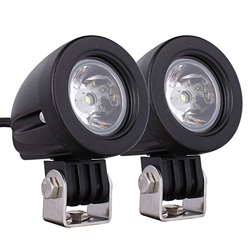 Pevor 10W LED Work Lights Flood Spot Lamps Driving Fog Car Motorcycle Boat ATV Round Working Lamp Pack of 2