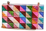 Runhetian Acrylic Clutch Purse Perspex Box Handbags for Women Colorful Geometry Desiger