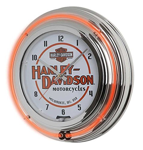 Harley-Davidson Motorcycle Double Neon Bar & Shield Clock, Orange Neon ()