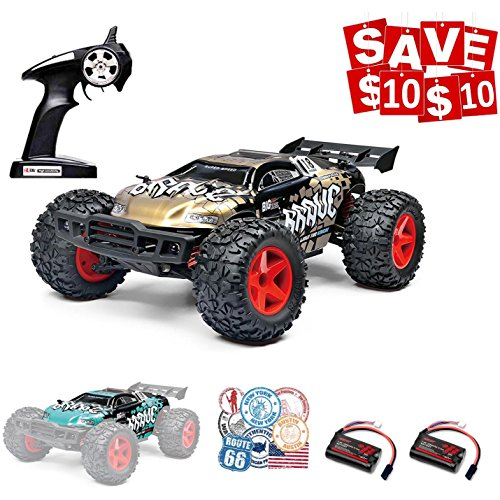 Speedi2 RC Cars RC Trucks, 1/12 Scale 4×4 Fast Electric RC Drift Cars 30MPH+ 2.4Ghz Radio Remote Control Desert Buggy Off Road with LED Light Vision (Gold)