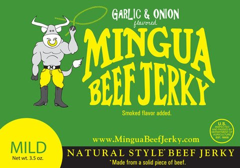 Mingua Beef Jerky Garlic & Onion 4 Pack (3.5oz each for 14oz total) ()
