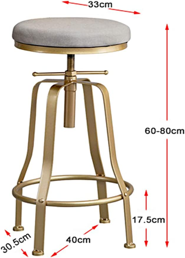 XDLYM Solid Wood Bar Stool With Backrest, Home Can Lift Wrought Iron High Stool Solid Wood Cushion Metal Leg Kitchen Footrest,n6 N2