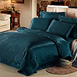 LILYSILK 4Pcs Silk Bedding Sheets Flat Sheet Fitted Sheet Oxford Pillowcases Set 19 Momme Pure Silk Dark Teal Queen