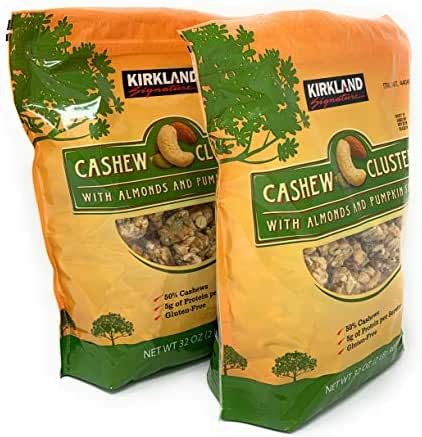 Kirkland Signature Cashew Clusters with Almonds and Pumpkin Seeds: 2 Bags of 32 Oz