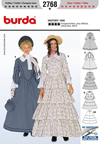 Steampunk Sewing Patterns- Dresses, Coats, Plus Sizes, Men's Patterns Burda Ladies Sewing Pattern 2768 Historical Hooped Skirt 1848 Fancy Dress Costumes $12.94 AT vintagedancer.com