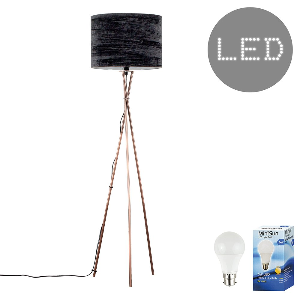 Modern Copper Effect Metal Tripod Floor Lamp with a Grey Fabric Cylinder Drum Light Shade - Complete with a 6w LED GLS Bulb [3000K Warm White] MiniSun