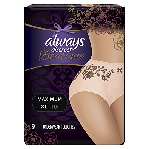 Always Discreet Boutique Incontinence Underwear Maximum Protection XL - 9 Disposable Incontinence Protective Underwear - Peach - Extra Large