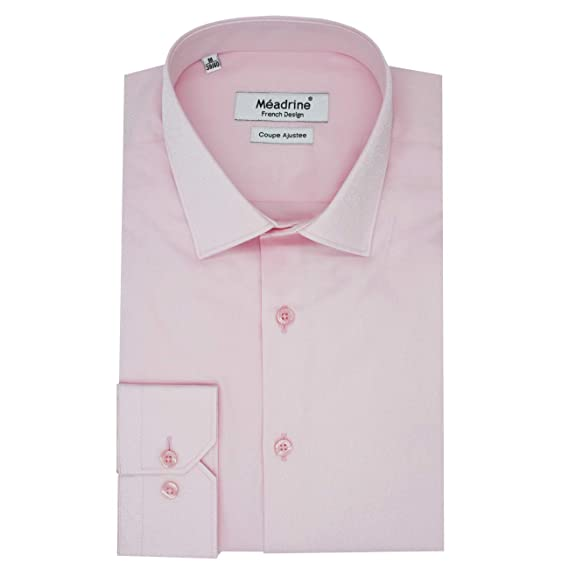 Homme Col 1 Chemise Meadrine Unie Droite Pale Coupe Rose Bouton 80PNXwOnk
