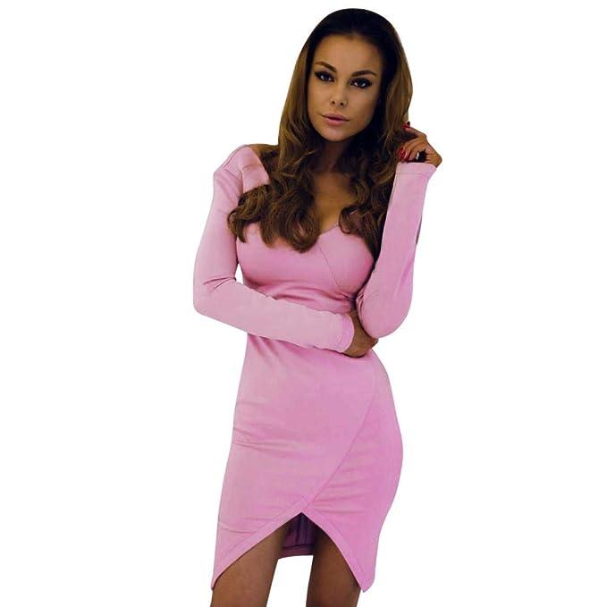 631e972b861 Longra Herbstmode Damen Kleider Elegant Kleider Festliche Cocktailkleid  Abendkleider Damen V-Ausschnitt Etuikleid Strickkleid Slim