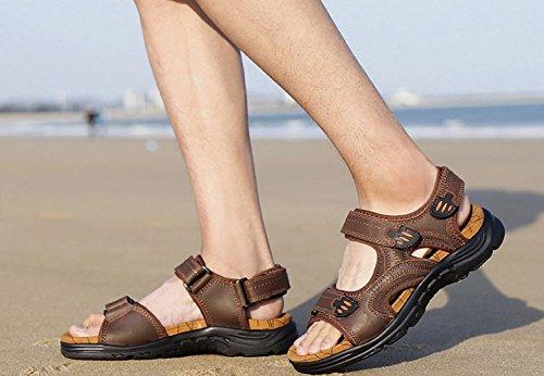 Scarpe Uomo Spiaggia Brown Velcro Outdoor Casual da Sandali da Antiscivolo Moda a5wxCE5q
