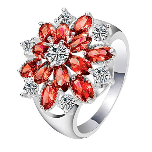Haluoo Rings for Women, Chic Full Diamond Filed Wedding Engagement Ring 925 Sterling Silver CZ Red Flowers Promise Rings Floral Anniversary Rings Band for Ladies Girls (7, Red)
