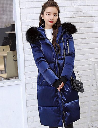 Down Polypropylene Going Sleeves Solid Coat Women'S Simple L Cotton Out Long ZHUDJ Blue 5q48x