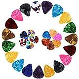 KEWAYO 30 Pieces Guitar Picks, Stylish Colorful Celluloid Guitar Plectrums for Bass, Electric & Acoustic Guitars