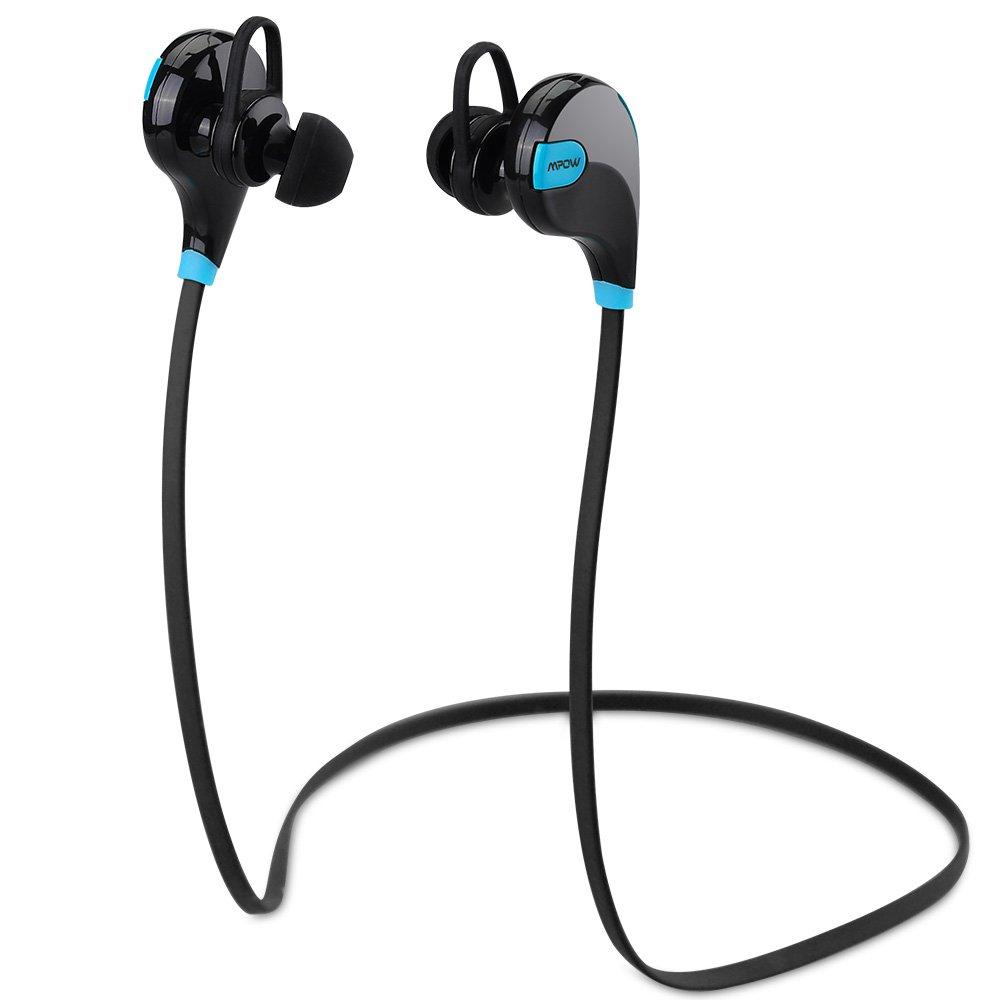 Mpow Swift Auricolari Wireless Bluetooth 4.0 Headset Stereo Cuffie Sportive a Prova di Sudore con Microfono e AptX Tecnologia Headphone per iPhone 7/7 Plus, 6s plus/6s, iPhone 6/6 Plus, iPhone 5s/5c/5SE/5, iPad, LG G2, Samsung Galaxy S6 Edge+/S6 Edge/S6/ S5/S4/S3, Note 4/Note 3/Note 2, Sony, Huawei P9 ed altri Smartphone - Blu