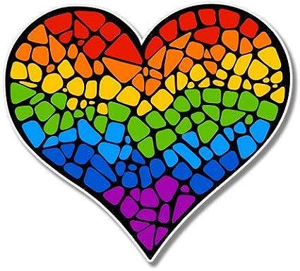 Select Size Car Phone Helmet AK Wall Art Mosaic Rainbow Heart Gay Pride Artistic Vinyl Sticker