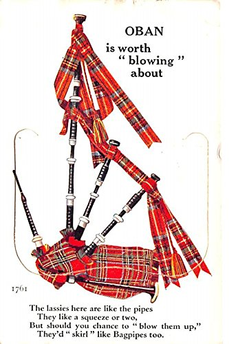 Oban, Bagpipes pop out postcard Scotland, UK Postcard