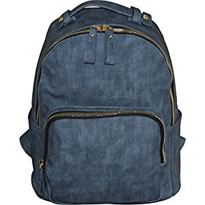"MMS Design 15"" Vegan Leather Casual Backpack - School Bag With Laptop Pocket (Blue)"