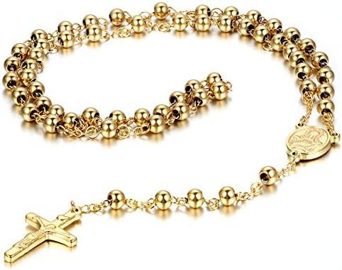 メンズ,レディース ステンレス ペンダント ネックレス チョーカー ゴールド 金 イエスキリスト 十字架 クロス 十字架 ロザリオ ビンテージ 25.5 インチ チェーン (ギフトバッグを提供)