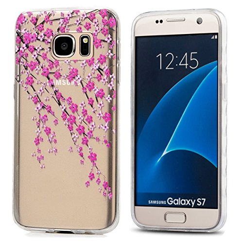 Galaxy S7 Case,3Cworld Ultra Thin Clear Art Pattern Crystal Gel TPU Rubber Flexible Slim Skin Soft Case for Samsung Galaxy S7 (Branches Flowers - Pink) (Samsung Galaxy S7 Edge Clear View Case Review)