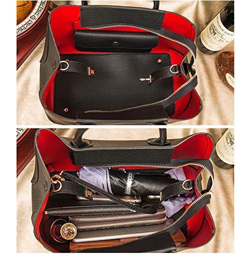 à pour Sac en métal de gris couche rouge en bandoulière daim femme sac cuir en litchi 7vvraqnw