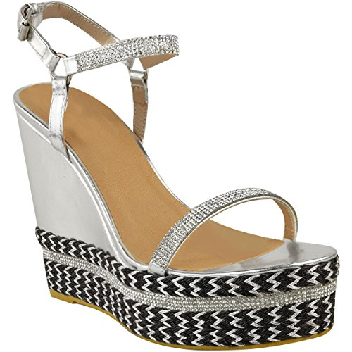 Platforms Ladies Shoes Strappy Diamante High New Metallic Womens Size Sparkly Heels Silver Wedge Yqypg