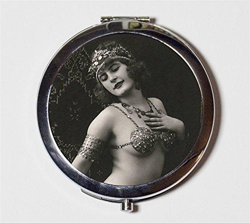 Belly Dancer Flapper Compact Mirror 1920s Jazz Age Art Deco Egyptian Revival Dancing Follies Make Up Pocket Mirror for (Flapper Dancer)